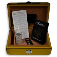 Savinelli High Lacquered Yellow and Carbon Fibre Humidor - 30 Cigar Capacity