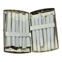 Double Sided Brushed Chrome Cigarette Case - Holds 12 Roll Ups/KS Cigarettes