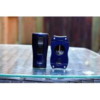 Colibri Monaco Triple-jet Flame Lighter & V Cut Cutter Set - Blue Carbon