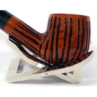 Dr Plumb Carved Rustic Metal Filter Briar Fishtail Pipe (DP076)