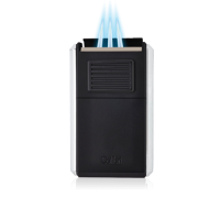 Colibri Astoria Triple Jet Flame Lighter - Matt Black and Blue