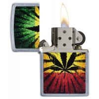 Zippo - Street Chrome Rasta Leaf Design - Windproof Lighter