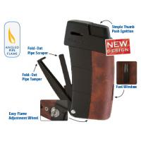 Xikar Resource II Pipe Lighter - Burl & Black Trim