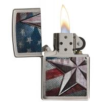 Zippo - Retro Star Brushed Chrome - Windproof Lighter