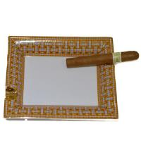 Porcelain Rectangular Cigar Ashtray - Orange And Gray