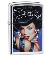 Zippo - Brushed Chrome Bettie Page Blue - Windproof Lighter