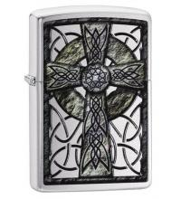 Zippo - Brushed Chrome Celtic Cross Design - Windproof Lighter