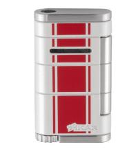 Xikar Allume Single Jet Lighter - White with Red Stripes (End of line)