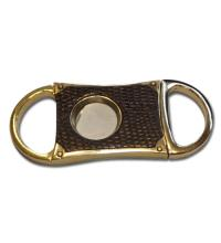 SLIGHT SECONDS – SALE - Single Blade Cigar Cutter  – Brass Dye Black Leather