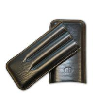 Leather FB Corona Cigar Case - Holds 3 Cigars - Black