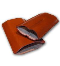 Plain Leather Cigar Case - Two Petit Corona - Tan