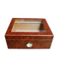 Knutsford Angelo Matte Burl Glass Top Humidor - 30 Cigar Capacity