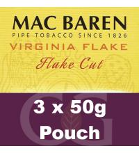 Mac Baren Virginia Flake Pipe Tobacco 150g (3 x 50g Pouches)