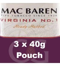 Mac Baren Virginia No.1 Ready Rubbed Pipe Tobacco 120g (3 x 40g Pouches)