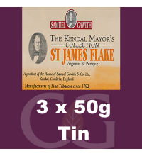 Samuel Gawith Mayors St James Flake Pipe Tobacco - 3x50g Tins