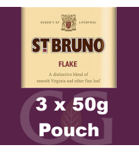 St Bruno Flake Pipe Tobacco - 150g (3 x 50g Pouches)