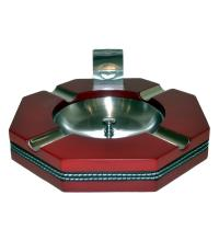 Four Rest Cigar Ashtray And Cigar Cutter - Red & Leather Strip