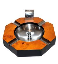 Four Cigar Rest Ashtray And Cutter - Burl Maple