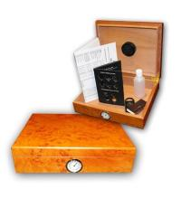 Classic Light Burl Semi Gloss Desk Top Humidor - 20 Cigars Capacity