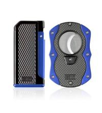 Colibri Monza Jet Cigar Lighter and Cutter Gift Set � Blue