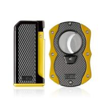 Colibri Monza I - Single Jet Cigar Lighter and Cutter Gift Set – Yellow