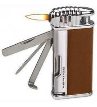 Vertigo Lotus Puffer - Pipe Lighter - Matt Brown & Brushed Chrome