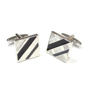Black, White & Grey Striped Classic Cufflinks