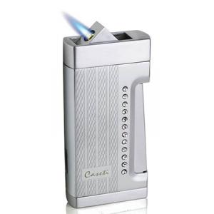 Caseti Push Button Jet Flame Lighter - Chrome Plated & Engine Turn Clear Crystal