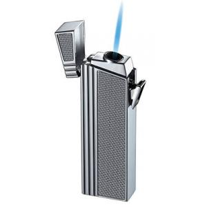 Caseti Push Button Jet Flame Lighter - Chrome Plated & Engine Turn Silver Carbon
