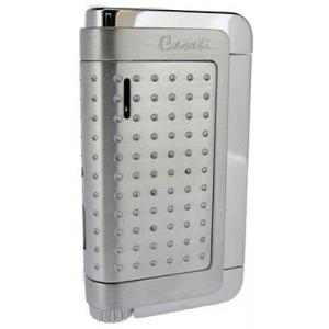 Caseti Jet Flame Lighter - Chrome Plated & Chrome Satin with Engine Turn
