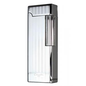 Caseti Jet Flame Flint Lighter - Chrome Plated & Engine Turn