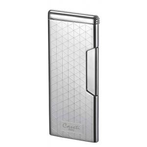 Caseti Push Button Soft Flame Lighter - Chrome Plated & Engine Turn