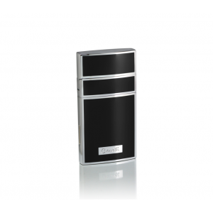 Caseti Full Cap Jet Flame Lighter - Chrome Plated & Black Lacquer