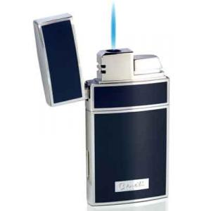 Caseti Full Cap Jet Flame Lighter - Chrome Plated & Blue Lacquer