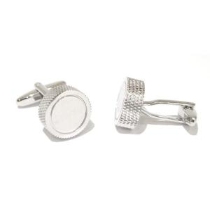 Rhodium Plated Round Engine Turn Personalised Cufflinks