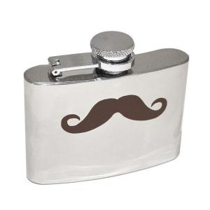 4oz Moustache Design Personalised Hip Flask