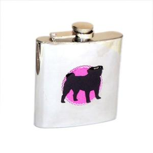 6oz Silhouette Pug Design Personalised Hip Flask