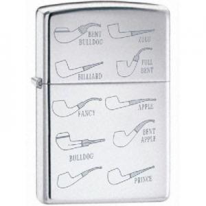Zippo Pipe Lighter Regular - High Polish Chrome with Pipe Motif