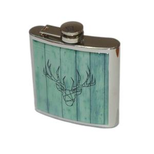 6oz Stag Design Personalised Hip Flask