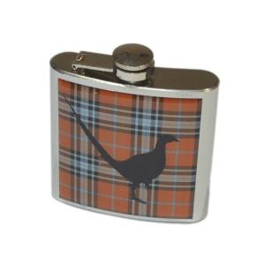 6oz Tartan Pheasant Personalised Hip Flask