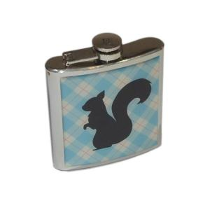 6oz Tartan Squirrel Personalised Hip Flask