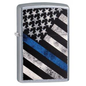 Zippo - Street Chrome Blue Line American Flag - Windproof Lighter