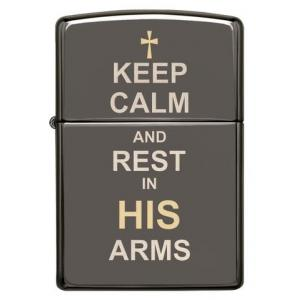 Zippo - Black Ice Keep Calm Design - Windproof Lighter