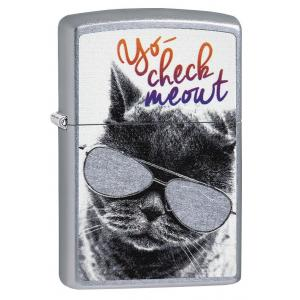 Zippo - Street Chrome Cat with Glasses -  Windproof Lighter