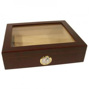 Mahogany Finish Glass Top Humidor - 20 Cigar Capacity