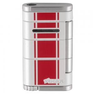 Xikar Allume Single Jet Lighter - White with Red Stripes