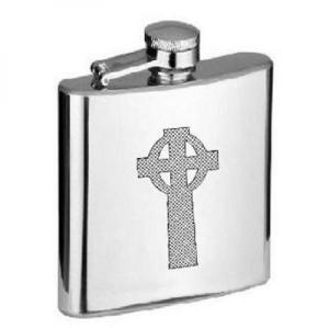 6oz Celtic Cross Stainless Steel Personalised Hip Flask