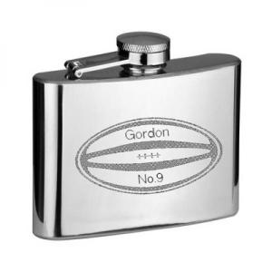 6oz Rugby Ball Design Stainless Steel Personalised Hip Flask