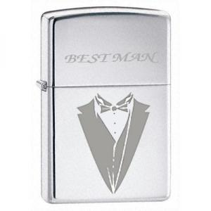 Zippo Wedding Bow Lighter - High Polish Chrome - Best Man