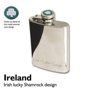 3oz Irish Shamrock Personalised Hip Flask